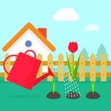 Διανυσματική απεικόνιση κήπων, χωριό κινούμενων σχεδίων με το σπίτι Στοκ Εικόνες