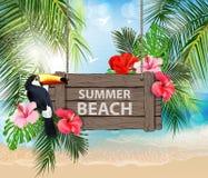 Διανυσματική απεικόνιση καλοκαιρινών διακοπών Παραλία, όμορφο sailboat, φοίνικες, όμορφη πανοραμική άποψη θάλασσας, διάνυσμα στοκ φωτογραφία με δικαίωμα ελεύθερης χρήσης