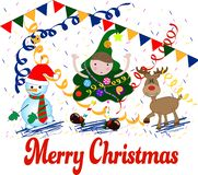 Διανυσματική απεικόνιση Καλών Χριστουγέννων Αστείος και ευτυχής απεικόνιση αποθεμάτων
