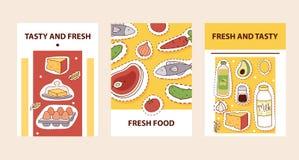 Διανυσματική απεικόνιση καρτών αυτοκόλλητων ετικεττών τροφίμων Νόστιμο και fesh έμβλημα μπαλωμάτων τροφίμων Γαλακτοκομικά προϊόντ απεικόνιση αποθεμάτων