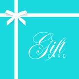 Διανυσματική απεικόνιση καρτών δώρων στο μπλε, τόξο με την άσπρη κορδέλλα Στοκ Φωτογραφίες