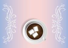 Διανυσματική απεικόνιση - καυτή σοκολάτα με marshmallows Καμμένος διακοσμήσεις Στοκ Φωτογραφία