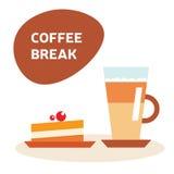 Διανυσματική απεικόνιση καφέ και κέικ Στοκ εικόνα με δικαίωμα ελεύθερης χρήσης