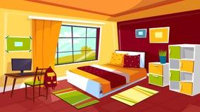 Διανυσματική απεικόνιση κινούμενων σχεδίων κρεβατοκάμαρων εφήβων του εσωτερικού υποβάθρου επίπλων δωματίων κοριτσιών ή αγοριών εφ διανυσματική απεικόνιση