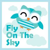 Διανυσματική απεικόνιση κινούμενων σχεδίων με τη χαριτωμένη μύγα κουκουβαγιών στον ουρανό ελεύθερη απεικόνιση δικαιώματος