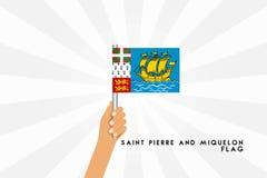 Διανυσματική απεικόνιση κινούμενων σχεδίων της ανθρώπινης λαβής Άγιος Pierre χεριών και της σημαίας Miquelon ελεύθερη απεικόνιση δικαιώματος