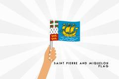 Διανυσματική απεικόνιση κινούμενων σχεδίων της ανθρώπινης λαβής Άγιος Pierre χεριών και της σημαίας Miquelon διανυσματική απεικόνιση