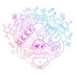 Διανυσματική απεικόνιση κινούμενων σχεδίων doodle, υπόβαθρο, ταπετσαρία, σχέδιο, σύσταση, σκηνικό, Geek nerd gamer Στοκ Φωτογραφία