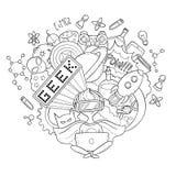 Διανυσματική απεικόνιση κινούμενων σχεδίων doodle, υπόβαθρο, ταπετσαρία, σχέδιο, σύσταση, σκηνικό, Geek nerd gamer Στοκ εικόνες με δικαίωμα ελεύθερης χρήσης