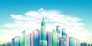 Διανυσματική απεικόνιση κινούμενων σχεδίων, έμβλημα, αστικό υπόβαθρο με τα σύγχρονα μεγάλα κτήρια πόλεων Στοκ Εικόνα