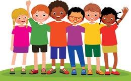 Διανυσματική απεικόνιση κινούμενων σχεδίων αποθεμάτων μιας ομάδας φίλων παιδιών απεικόνιση αποθεμάτων