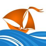 Διανυσματική απεικόνιση κινούμενων σχεδίων του μικρού πλέοντας σκάφους στον ωκεανό Στοκ Εικόνα