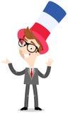 Διανυσματική απεικόνιση κινούμενων σχεδίων του πατριωτικού γαλλικού επιχειρηματία που φορά το μπλε άσπρο κόκκινο ριγωτό καπέλο πο ελεύθερη απεικόνιση δικαιώματος