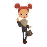 Διανυσματική απεικόνιση κοριτσιών μόδας με ένα χαριτωμένο παιδί μόδας Στοκ εικόνα με δικαίωμα ελεύθερης χρήσης