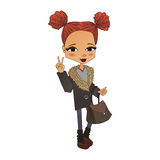 Διανυσματική απεικόνιση κοριτσιών μόδας με ένα χαριτωμένο παιδί μόδας Στοκ Εικόνα