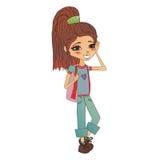 Διανυσματική απεικόνιση κοριτσιών μόδας με ένα χαριτωμένο παιδί μόδας Στοκ Εικόνες