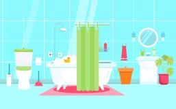 Διανυσματική απεικόνιση λουτρών στο επίπεδο ύφος με την τουαλέτα, πάπια Έπιπλα ντους Υγειονομικό εσωτερικό απεικόνιση αποθεμάτων