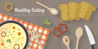 Διανυσματική απεικόνιση μαγειρεύοντας χρόνου με τα επίπεδα εικονίδια Φρέσκα τρόφιμα και υλικά στον πίνακα κουζινών στο επίπεδο ύφ Στοκ Εικόνα