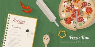 Διανυσματική απεικόνιση μαγειρεύοντας χρόνου με τα επίπεδα εικονίδια Φρέσκα τρόφιμα και υλικά στον πίνακα κουζινών στο επίπεδο ύφ Στοκ Εικόνες