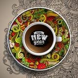 Διανυσματική απεικόνιση με ένα φλιτζάνι του καφέ και ένα χέρι Στοκ Εικόνες