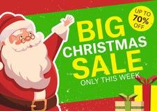Διανυσματική απεικόνιση με ευτυχή Άγιο Βασίλη ευτυχές λευκό αγορών πώλησης κοριτσιών Χριστουγέννων ανασκόπησης Στοκ εικόνες με δικαίωμα ελεύθερης χρήσης