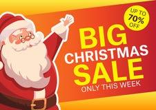 Διανυσματική απεικόνιση με ευτυχή Άγιο Βασίλη ευτυχές λευκό αγορών πώλησης κοριτσιών Χριστουγέννων ανασκόπησης Στοκ Φωτογραφία