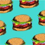 Διανυσματική απεικόνιση με συρμένα τα χέρι burgers Ελεύθερη απεικόνιση δικαιώματος