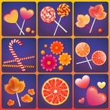 Διανυσματική απεικόνιση με τα γλυκά Στοκ Εικόνες
