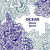 Διανυσματική απεικόνιση με τα φύκια Κάρτα με τις αφηρημένες ωκεάνιες εγκαταστάσεις διανυσματική απεικόνιση
