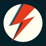 Κόκκινη λάμψη Διανυσματική απεικόνιση με την αστραπή στον άσπρο κύκλο για το λογότυπο, αφίσα, κάρτα, ντύνοντας τυπωμένη ύλη, ιπτά ελεύθερη απεικόνιση δικαιώματος
