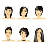 Διανυσματική απεικόνιση με την εικόνα των hairstyles Στοκ Εικόνες
