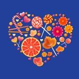 Διανυσματική απεικόνιση με την καρδιά γλυκών Στοκ Φωτογραφία