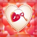 Διανυσματική απεικόνιση με την κλειδαρότρυπα κλειδιών και καρδιών Απεικόνιση αποθεμάτων