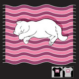 Διανυσματική απεικόνιση με τη γάτα ύπνου σε έναν ριγωτό Ελεύθερη απεικόνιση δικαιώματος