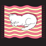 Διανυσματική απεικόνιση με τη γάτα ύπνου Στοκ Φωτογραφία