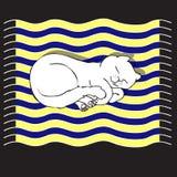 Διανυσματική απεικόνιση με τη γάτα ύπνου Στοκ εικόνες με δικαίωμα ελεύθερης χρήσης