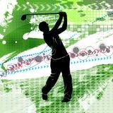 Διανυσματική απεικόνιση με τη σκιαγραφία γκολφ Στοκ φωτογραφία με δικαίωμα ελεύθερης χρήσης