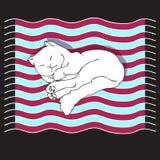 Διανυσματική απεικόνιση με τη χαριτωμένη γάτα σε ένα ριγωτό χαλί Στοκ Εικόνες