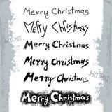 Διανυσματική απεικόνιση με τη Χαρούμενα Χριστούγεννα που γράφει το σύνολο στο ύφος grunge που απομονώνεται στο άσπρο υπόβαθρο διανυσματική απεικόνιση