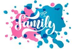 Διανυσματική απεικόνιση με τη χειρόγραφες οικογένεια και τις καρδιές φράσης απεικόνιση αποθεμάτων