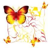 Διανυσματική απεικόνιση με τις κόκκινες και κίτρινες πεταλούδες ελεύθερη απεικόνιση δικαιώματος