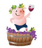 Διανυσματική απεικόνιση με τον ευτυχή χοίρο winemaker ελεύθερη απεικόνιση δικαιώματος