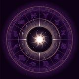 Διανυσματική απεικόνιση με τον κύκλο ωροσκοπίων, Zodiac τα σύμβολα και τους πλανήτες αστρολογίας εικονογραμμάτων στο έναστρο υπόβ διανυσματική απεικόνιση