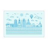 Διανυσματική απεικόνιση με τον ορίζοντα πόλεων διανυσματική απεικόνιση