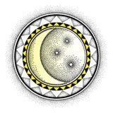 Διανυσματική απεικόνιση με το διαστιγμένο μισό φεγγάρι με το αστέρι και το διακοσμητικό πλαίσιο στο Μαύρο και κίτρινος που απομον Στοκ φωτογραφία με δικαίωμα ελεύθερης χρήσης