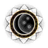 Διανυσματική απεικόνιση με το διαστιγμένο μισό φεγγάρι, το αστέρι και το διακοσμητικό στρογγυλό πλαίσιο σε μαύρο και το χρυσό που Στοκ φωτογραφία με δικαίωμα ελεύθερης χρήσης