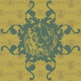 Διανυσματική απεικόνιση με το λιοντάρι και μπαρόκ Στοκ φωτογραφία με δικαίωμα ελεύθερης χρήσης