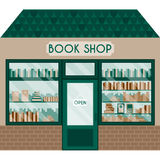Διανυσματική απεικόνιση με το κατάστημα βιβλίων Στοκ φωτογραφία με δικαίωμα ελεύθερης χρήσης