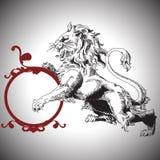 Διανυσματική απεικόνιση με το μπαρόκ λιοντάρι σε βικτοριανό Στοκ Εικόνες