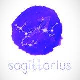 Διανυσματική απεικόνιση με Zodiac το σημάδι και αστερισμός SAGITTARIUS Στοκ Εικόνες